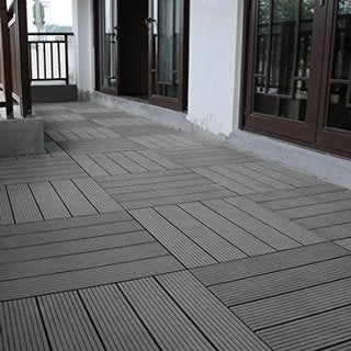 Abba Patio Outdoor Four Slat Wood-Plastic Interlocking Decking Tile, 6 Pieces One Pack, Dark Grey