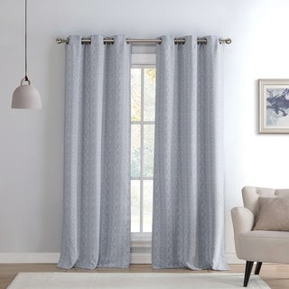 Maya Kensie Knit Printed Blackout Grommet Window Curtain Panel Pair