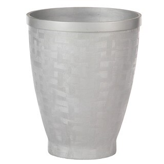 PoliVaz Silver Crosshatch Planter, Large (Indonesia)