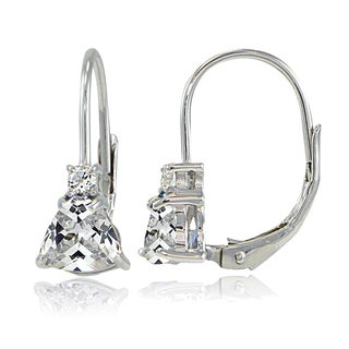 Icz Stonez Sterling Silver Cubic Zirconia Trillion-Cut Leverback Drop Earrings