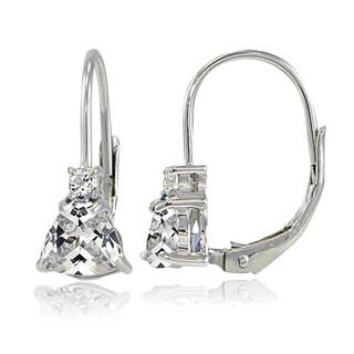 Icz Stonez Sterling Silver Cubic Zirconia Trillion-Cut Leverback Drop Earrings
