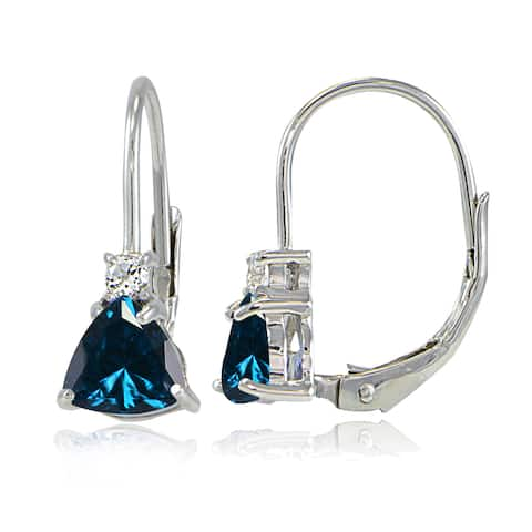 Glitzy Rocks Sterling Silver London Blue Topaz & White Topaz Trillion-Cut Leverback Drop Earrings