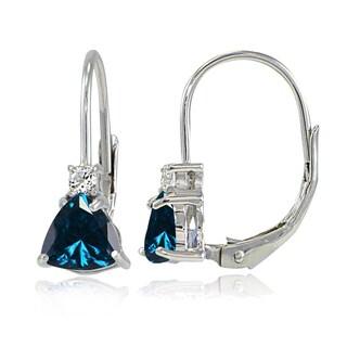 Glitzy Rocks Sterling Silver London Blue Topaz & White Topaz Trillion-Cut Leverback Drop Earrings