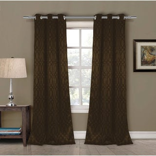 Tayla Brown Blackout Grommet Window Curtain Panel Pair
