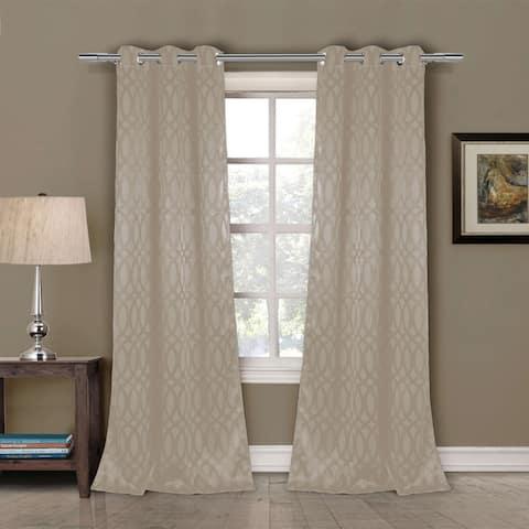 "Duck River Tayla Geometric Blackour Curtain Panel Pair - 36x84"""