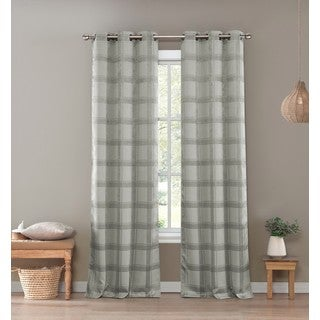 Trista Kelvin Silver Blackout Grommet Window Curtain Panel Pair
