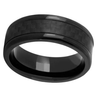 Black Cobalt and Carbon Fiber Men's Band (Option: 7.5)