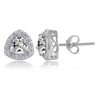 Icz Stonez Sterling Silver Cubic Zirconia Trillion-Cut Stud Earrings