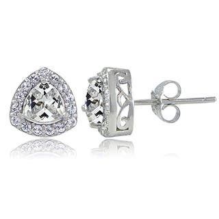 Icz Stonez Sterling Silver Cubic Zirconia Trillion-Cut Stud Earrings
