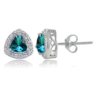 Glitzy Rocks Sterling Silver London Blue Topaz & White Topaz Trillion-Cut Stud Earrings