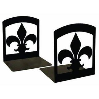 Powder Metal Coated Wrought Iron Fleur-de-lis Bookends