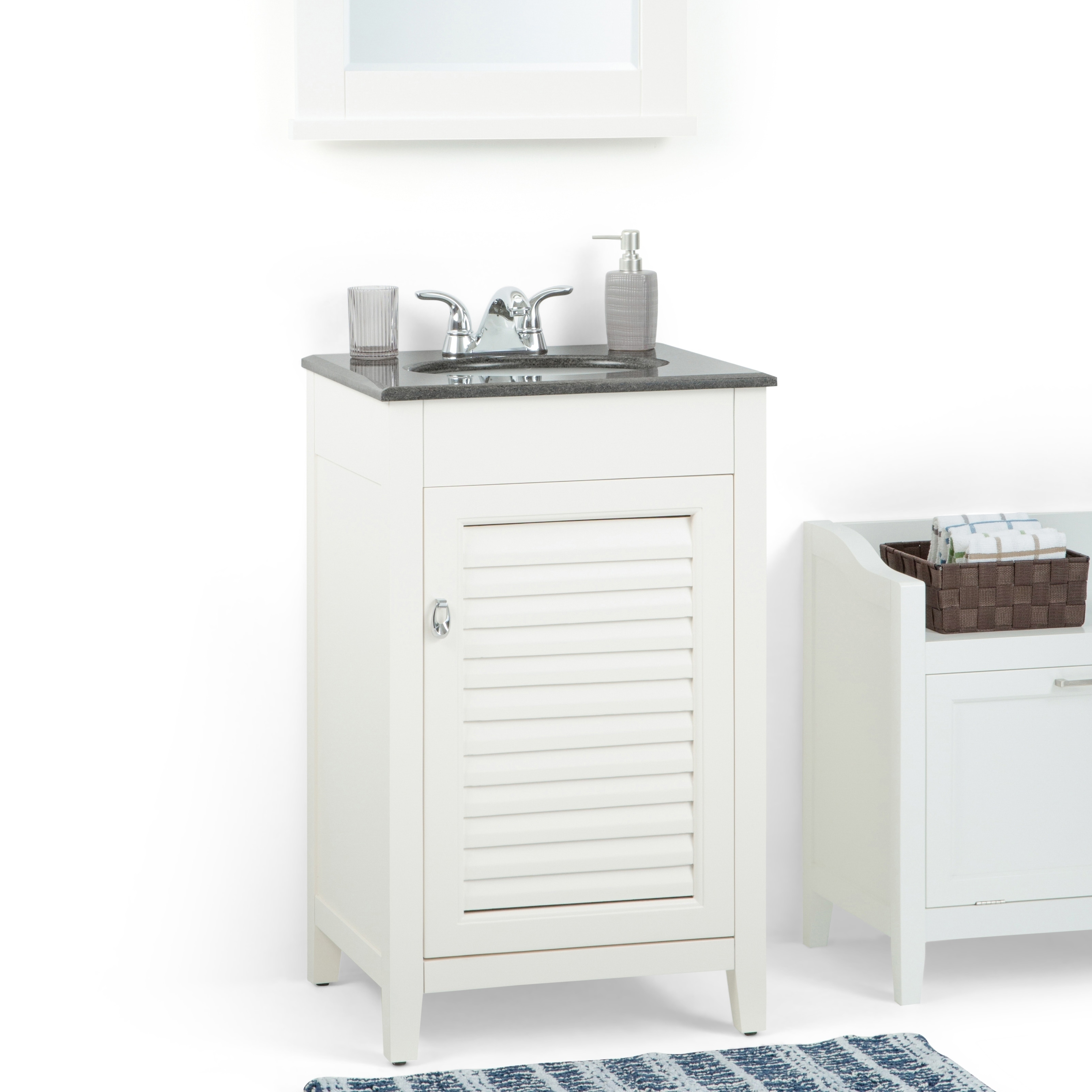 Palmer 20 Inch Bath Vanity In Soft White With Black Granite Top Ebay