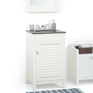 WYNDENHALL Palmer White Bath Vanity with Black Granite Top
