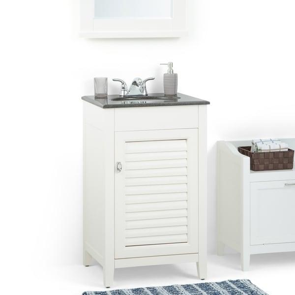 Shop Palmer 20 inch Bath Vanity in Soft White with Black ...