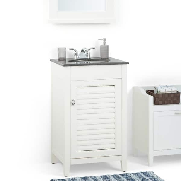 Palmer 20 Inch Bath Vanity In Soft White With Black Granite