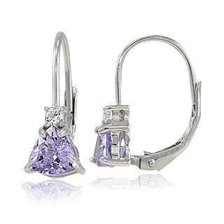 Glitzy Rocks Sterling Silver Gemstone Trillion-Cut Leverback Drop Earrings (Option: Amethyst - Purple/White - February)