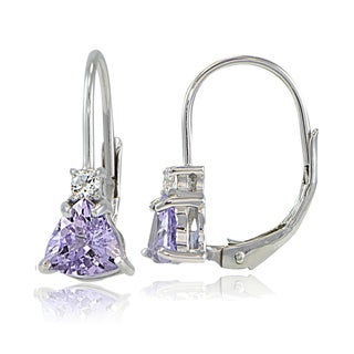 Glitzy Rocks Sterling Silver Gemstone Trillion-Cut Leverback Drop Earrings (More options available)