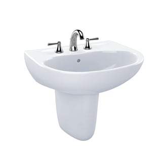 Toto Supreme Cotton White Vitreous China Wall Mount Bathroom Sink LHT241.8G#01