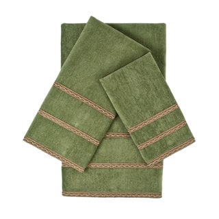 Sherry Kline Triple Row Gimp Sage 3-piece Embellished Towel Set