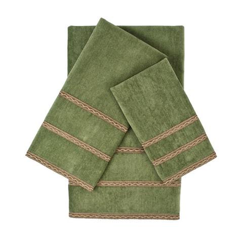 Sherry Kline Triple Row Gimp Sage 3-piece Embellished Towel Set