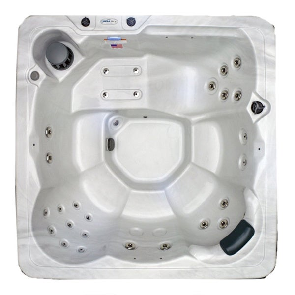 Hudson Bay Spas Sterling White Shell Stainless Steel 6 Person 29 Jet Spa with Stainless Jets