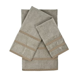 Sherry Kline Bordeaux Grey 3-piece Embellished Towel Set