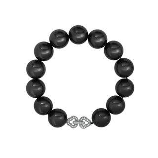 Pearlyta Sterling-silver Black Shell Pearl Cubic Zirconia Infinity Clasp Bracelet