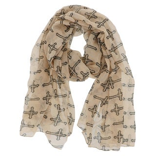 LA77 Black Cross Print Scarf