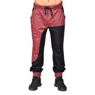 Men's Red/Black Faux Leather Drawstring Zip Cuff Joggers