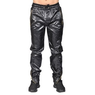 Men's PU Leather Alligator-skin Jogger with 2 Zipper Pockets, Drawstring, and Cuff-zipper Bottom