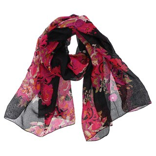 LA77 Oblong Floral Polyester Scarf