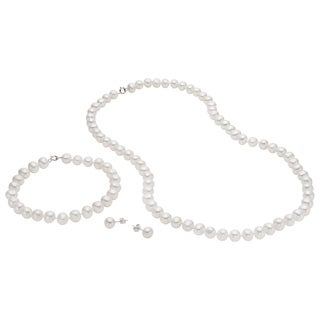 Pearlyta Sterling Silver White Freshwater Pearl Necklace, Bracelet, and Earring Jewelry Set (7-8 mm)