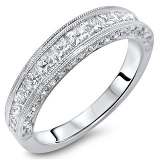 Noori 18k White Gold 1 1/10ct TDW Princess-cut Diamond Wedding Ring