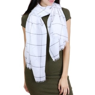 LA77 Black and White Windowpane Scarf