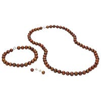 Pearlyta Sterling Silver Brown Freshwater Pearl Necklace, Bracelet and Earring Jewelry Set (7-8mm)