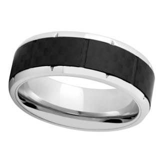 Titanium and Black Carbon Fiber Mens Band