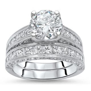 noori 18k white gold 3 12ct round diamond enhanced bridal set - Wedding And Engagement Rings