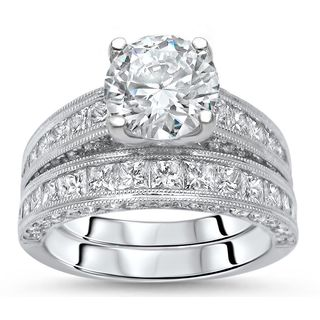 noori 18k white gold 3 12ct round diamond enhanced bridal set - Affordable Diamond Wedding Rings