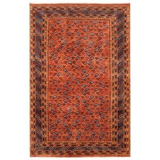 Herat Oriental Afghan Hand-knotted Vegetable Dye Bashiri Wool Rug (4'3 x 6'6)