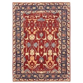 Herat Oriental Afghan Hand-knotted Vegetable Dye Ziegler Wool Rug (5'2 x 7'1)