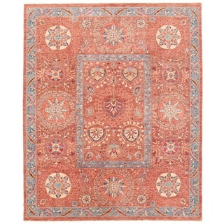 Herat Oriental Afghan Hand-knotted Vegetable Dye Suzani Wool Rug (7'10 x 9'8)