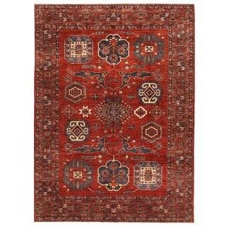 Herat Oriental Afghan Hand-knotted Vegetable Dye Kazak Wool Rug (8'9 x 11'11)