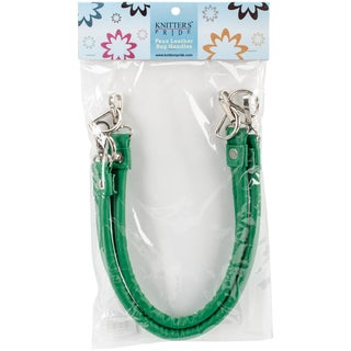 """Faux Leather Bag Handles With Hooks 17""""-Green"""