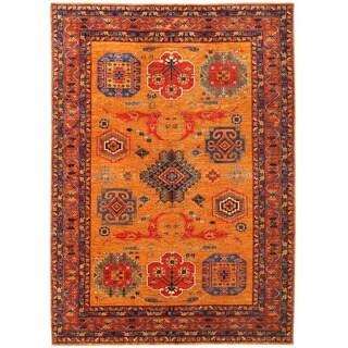 Herat Oriental Afghan Hand-knotted Vegetable Dye Kazak Wool Rug (9' x 12'6)