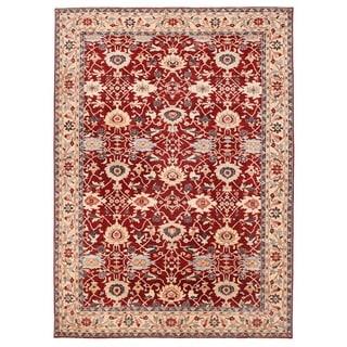 Herat Oriental Afghan Hand-knotted Vegetable Dye Oushak Wool Rug (10'2 x 13'10)
