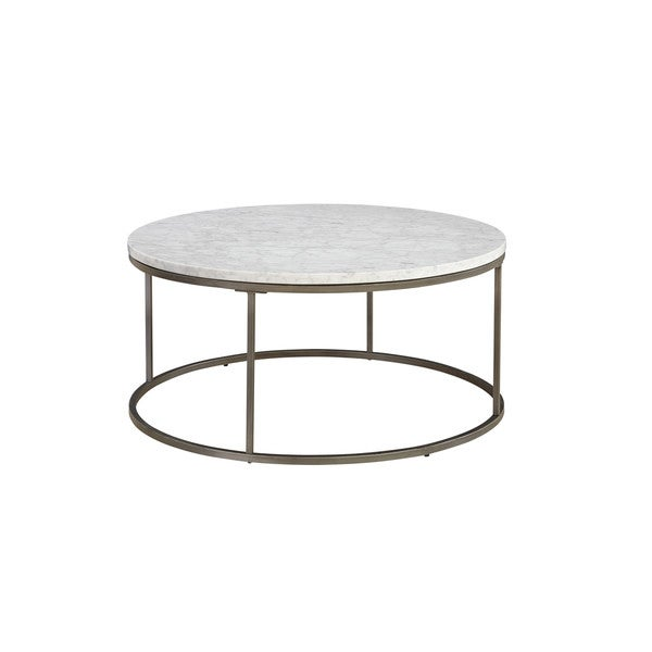 White Marble Coffee Table Set: Alana White Marble Round Coffee Table