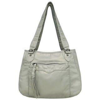Bueno of California Soft Pearlized Washed Satchel Bag
