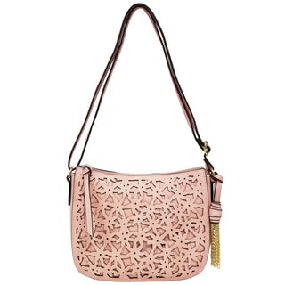 Bueno of California Pink Faux Leather Cutout Flower Crossbody Bag