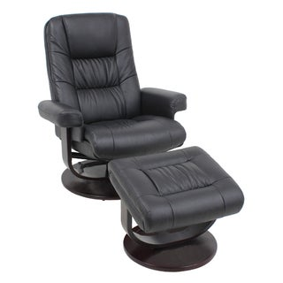 Global Office Furniture Black Wood and Leather Recliner