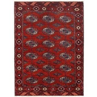 Herat Oriental Afghan Hand-knotted Vegetable Dye Turkoman Wool Rug (5'3 x 7'3)
